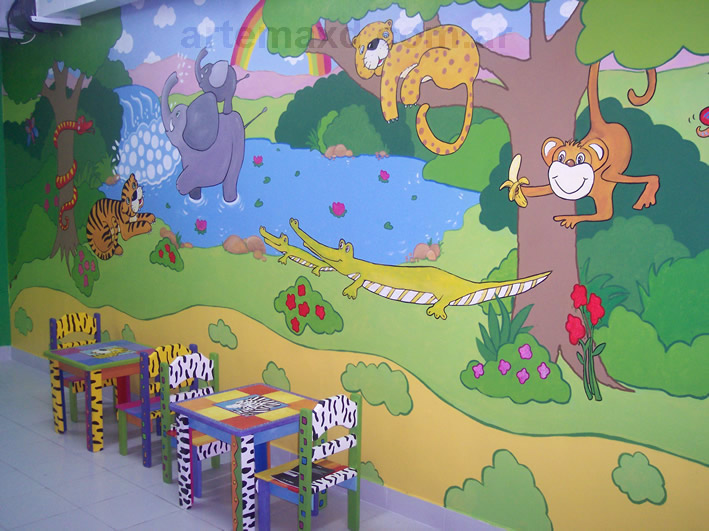 Murales pintados a mano en paredes graffitis arte - Mural pared infantil ...
